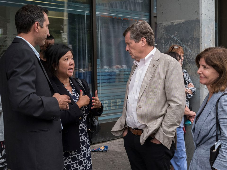 Mayor John Tory visits Sherboune & Dundas