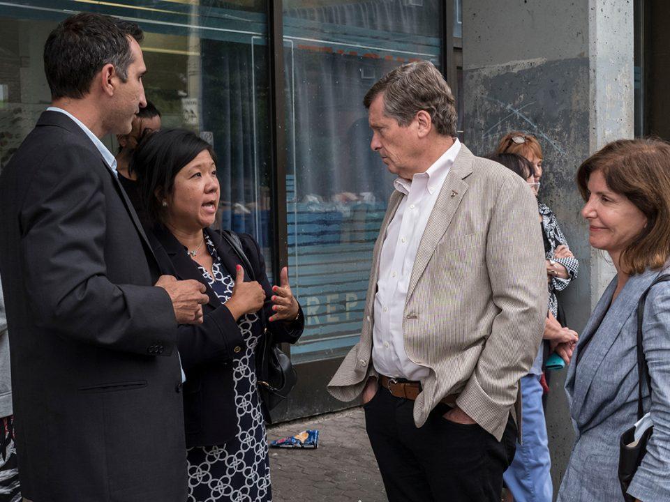 Mayor John Tory visits Sherboune & Dundas